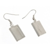 Bezel Handmade Earring Square 16x2mm Silver Plated Matte
